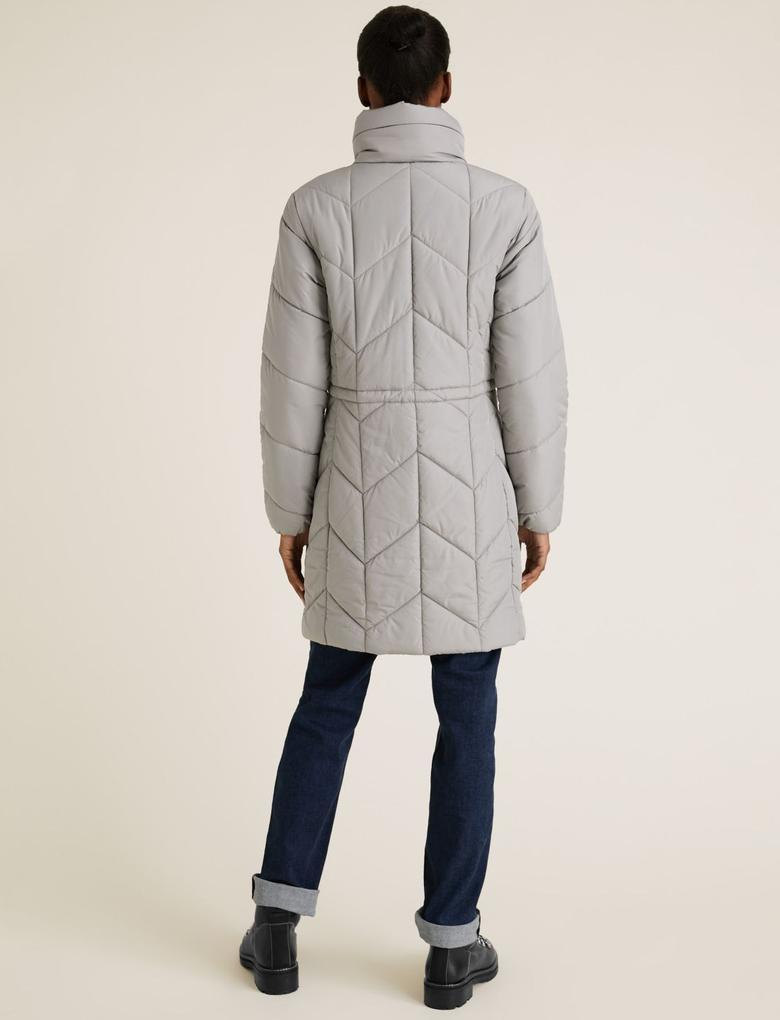 Kadın Gri Thermowarmth™ Uzun Pufa Mont
