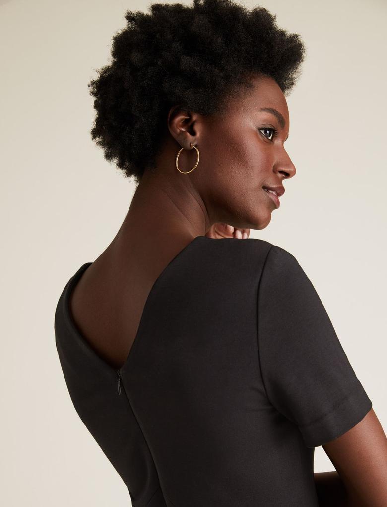Kadın Siyah V Yaka Jarse Elbise