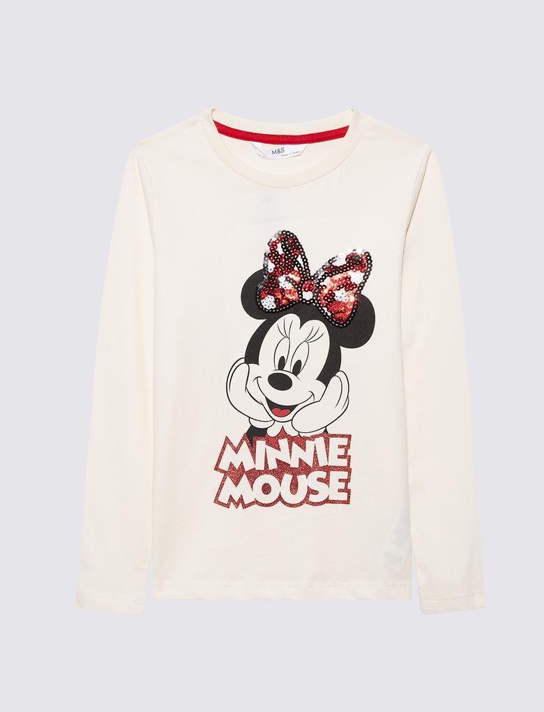 Kız Çocuk Bej Disney Minnie Mouse Uzun Kollu T-Shirt