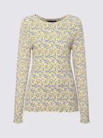 Kadın Bej Uzun Kollu Desenli Bluz