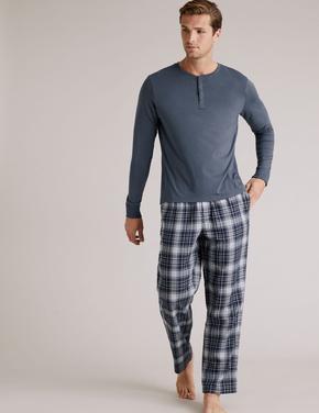 Erkek Mavi Premium Pamuklu Henley Pijama Üstü