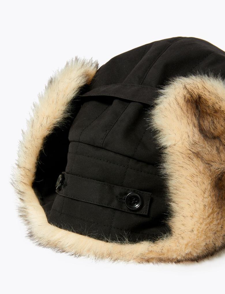 Erkek Siyah Suni Kürk Detaylı Şapka