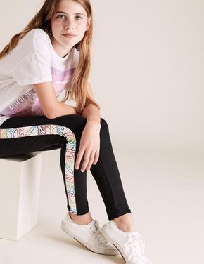 Kız Çocuk Siyah Pamuklu Şerit Detaylı Tayt