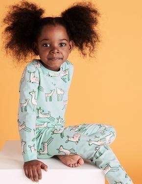 Çocuk Mavi Geyik Desenli Pijama Takımı