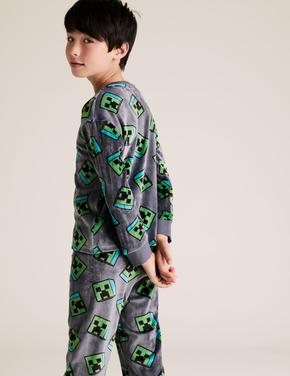 Çocuk Gri Minecraft™ Kadife Pijama Takımı