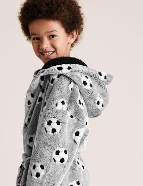 Çocuk Gri Desenli Polar Sabahlık