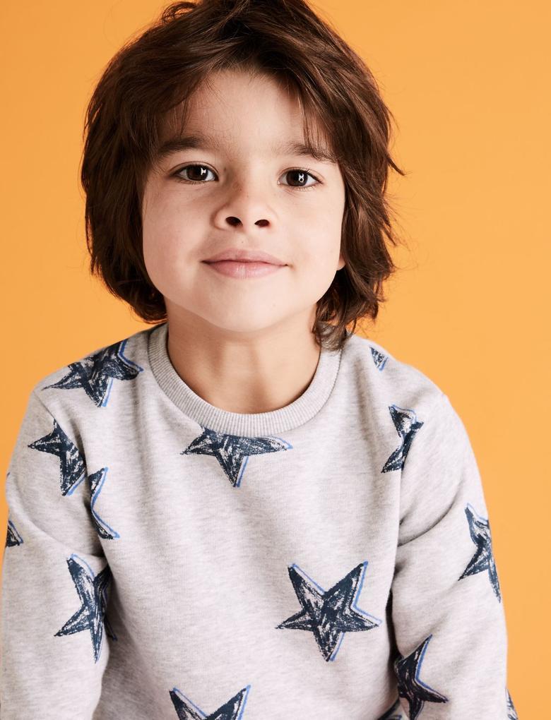 Erkek Çocuk Gri Pamuklu Yıldız Desenli Sweatshirt
