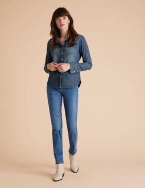 Kadın Lacivert Tencel ™ Straight Leg Jean Pantolon