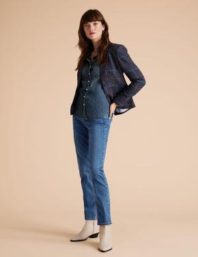 Lacivert Tencel ™ Straight Leg Jean Pantolon