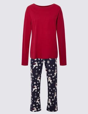 Kadın Lacivert Yılbaşı Desenli Pijama Takımı