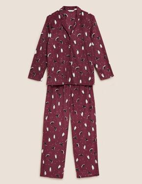 Kadın Mor Penguen Desenli Polar Pijama Takımı