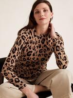 Kadın Kahverengi Leopar Desenli Saf Kaşmir Kazak