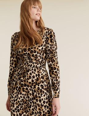 Kadın Kahverengi Desenli V-Yaka Waisted Elbise
