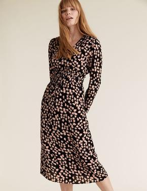 Kadın Siyah Desenli V-Yaka Waisted Elbise