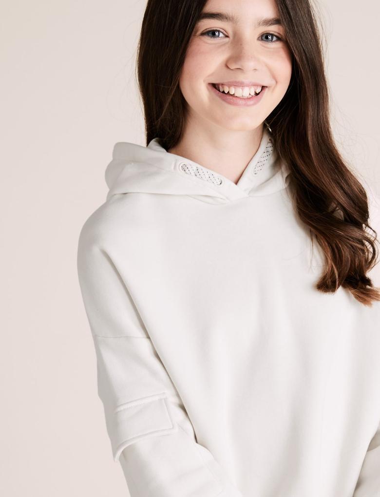 Kız Çocuk Krem Kapüşonlu Kargo Kol Sweatshirt