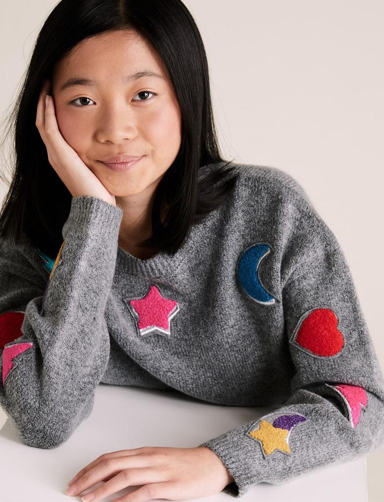 Kız Çocuk Gri Aplikeli Yuvarlak Yaka Kazak