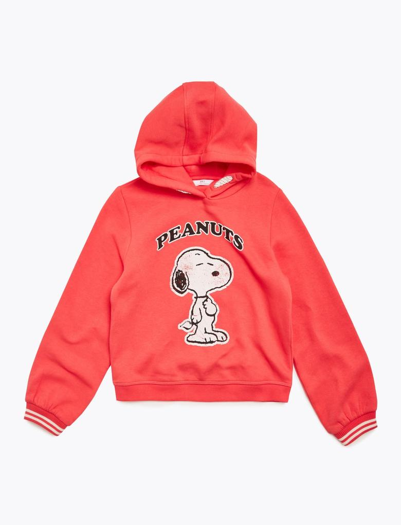 Kız Çocuk Kırmızı Snoopy™ Kapüşonlu Sweatshirt