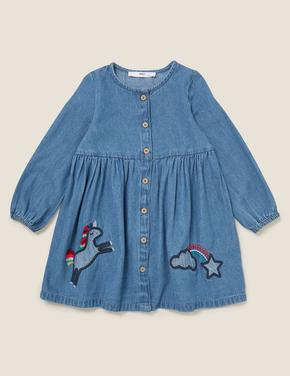 Kız Çocuk Mavi İşlemeli Denim Elbise