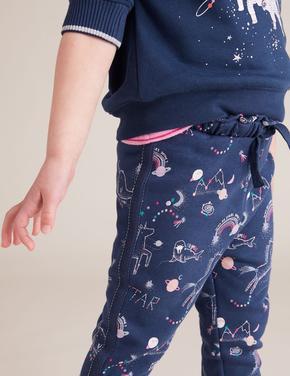 Kız Çocuk Lacivert Galaksi Desenli Eşofman Altı