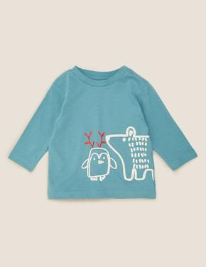 Bebek Mavi Saf Pamuklu Baskılı Bluz