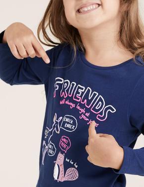 Kız Çocuk Lacivert Grafik Desenli Uzun Kollu T-Shirt