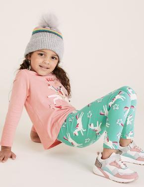 Kız Çocuk Mavi Unicorn Desenli Legging Tayt