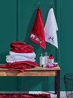 Ev Kırmızı 2'li Saf Pamuklu Yılbaşı Temalı Ev Havlusu