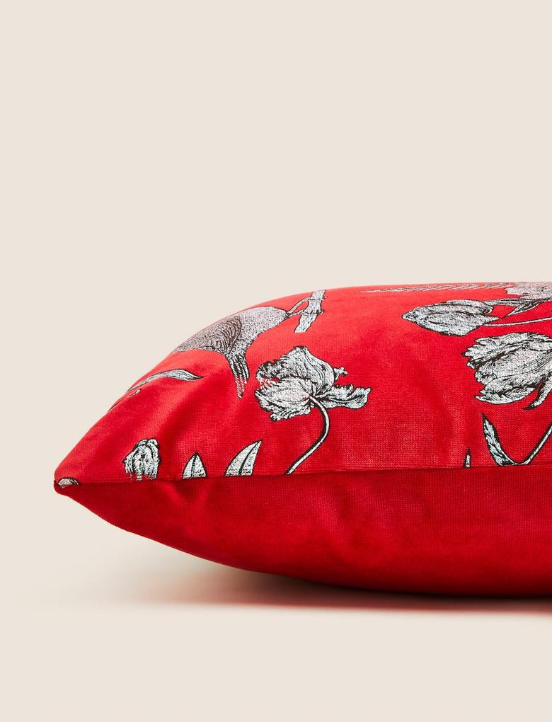 Ev Kırmızı Desenli Dekoratif Yastık