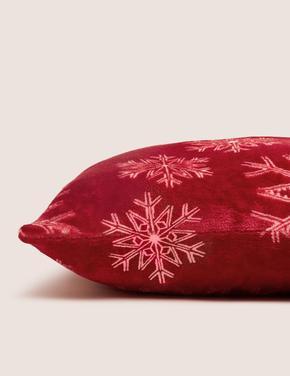 Ev Kırmızı Kar Tanesi Desenli Polar Yastık