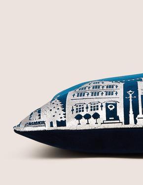 Ev Lacivert Desenli Kadife Dekoratif Yastık
