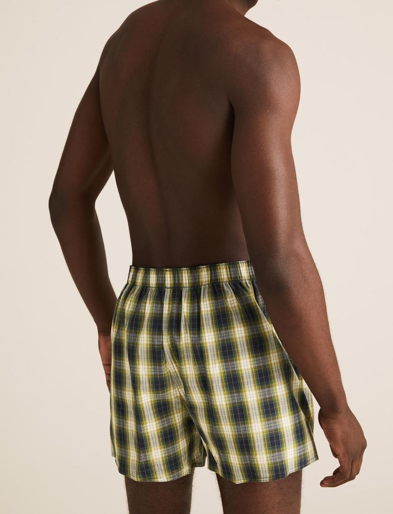 Erkek Multi Renk 3'lü Saf Pamuklu Ekose Boxer Seti