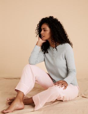 Kadın Pembe Pamuklu Uzun Kollu Pijama Takımı