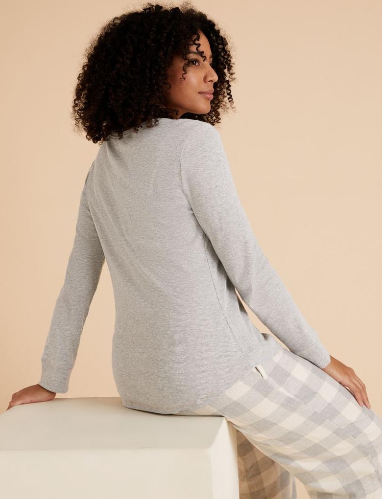 Kadın Gri Pamuklu Henley Pijama Üstü