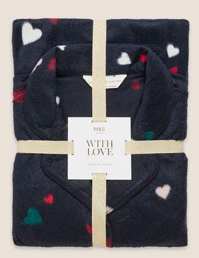 Kadın Lacivert Kalp Desenli Polar Pijama Takımı