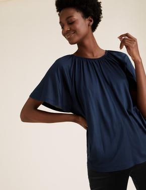Kadın Lacivert Yuvarlak Yaka Fırfırlı Kollu Bluz