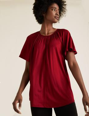 Kadın Kırmızı Yuvarlak Yaka Fırfırlı Kollu Bluz
