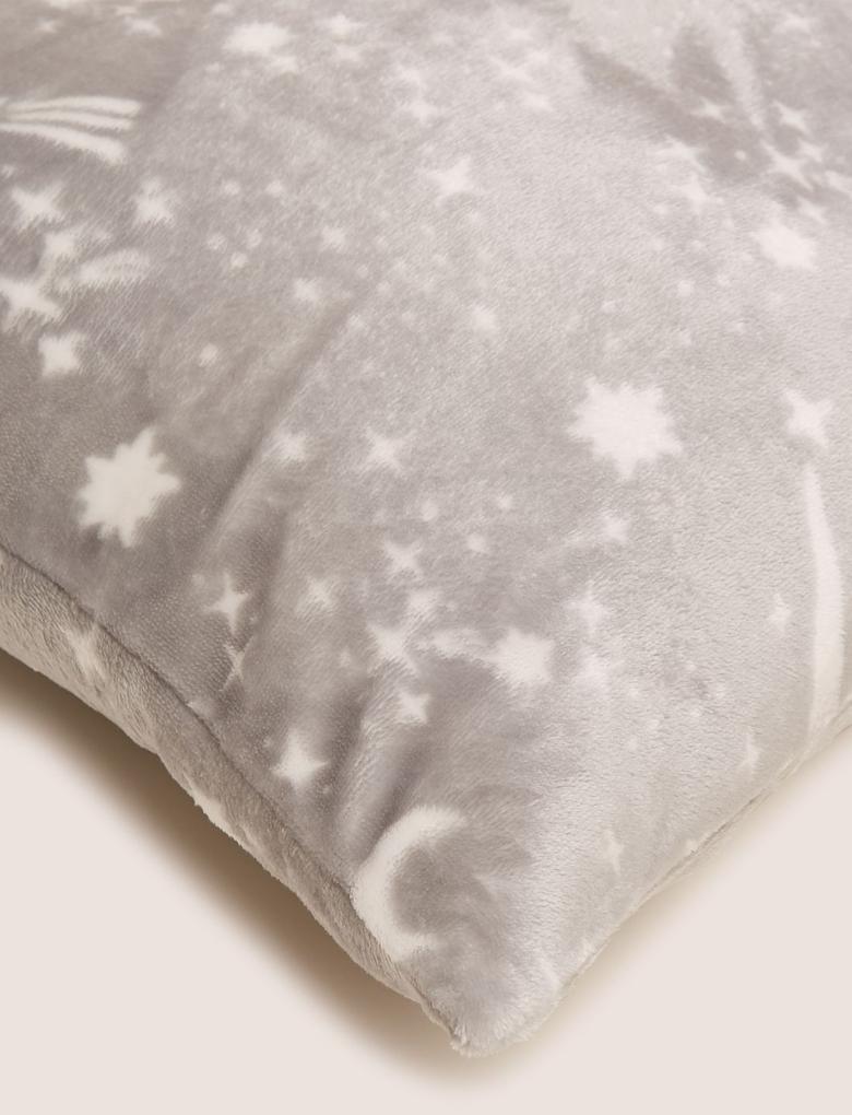 Ev Gri Yıldız Desenli Polar  Dekoratif Yastık