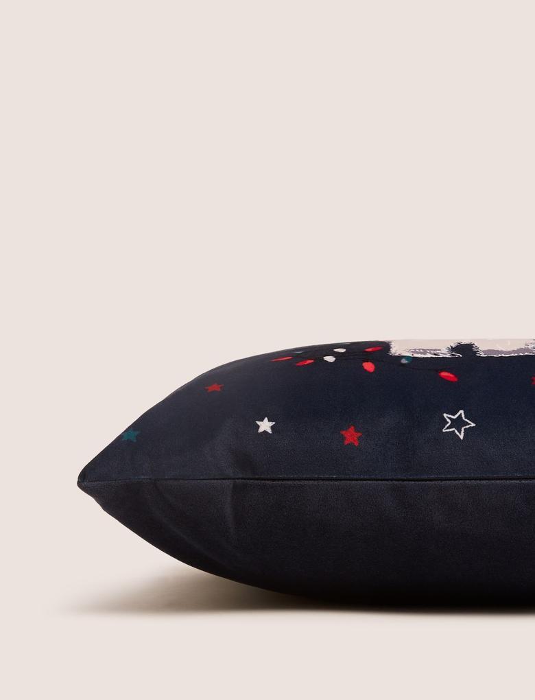 Ev Lacivert Kutup Ayısı Desenli Dekoratif Yastık