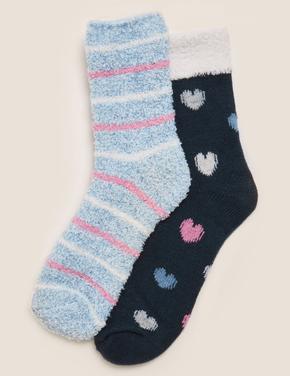 Kadın Lacivert 2'li Desenli Cosy Çorap Seti