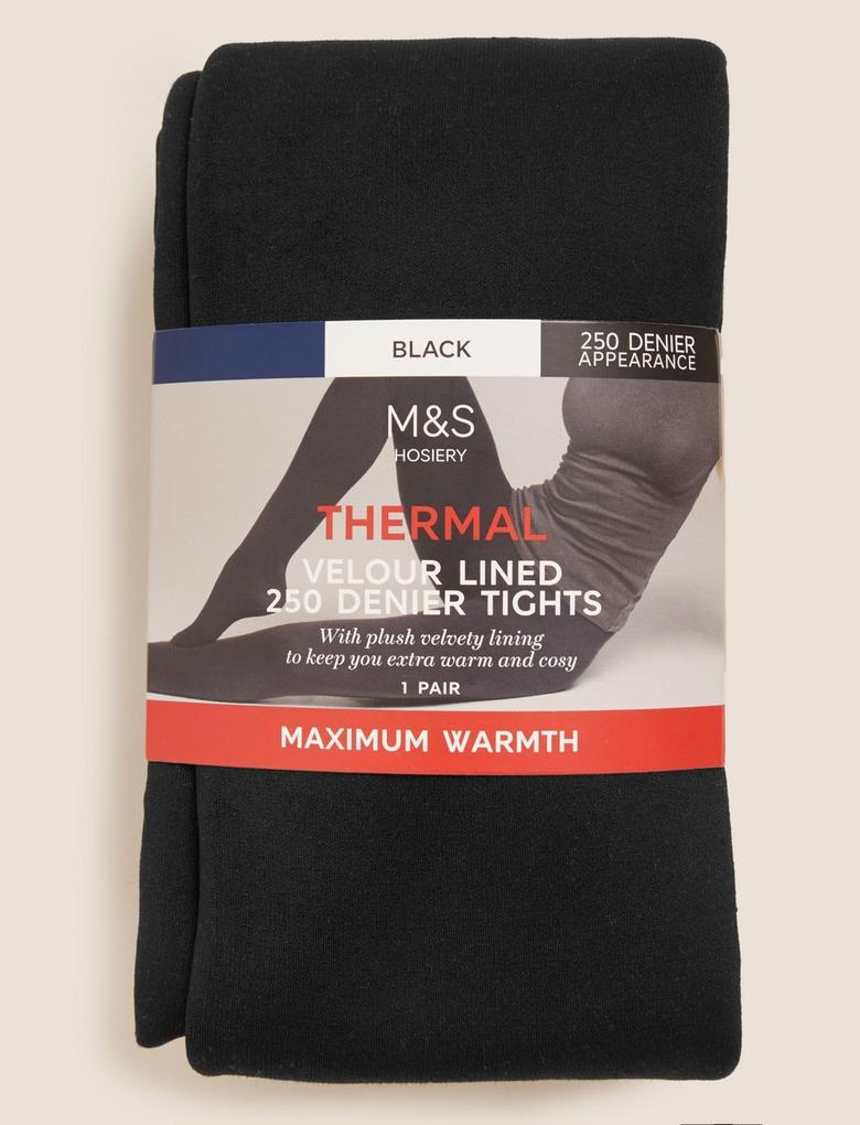 Kadın Siyah 250 Denye Termal Külot Çorap