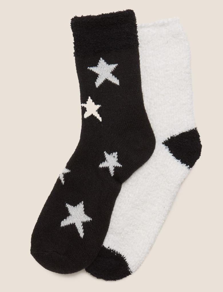 Kadın Siyah 2'li Cosy Çorap Seti