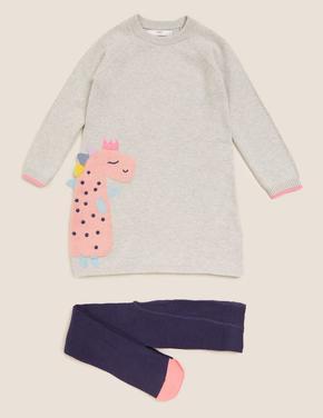 Kız Çocuk Gri 2'li Elbise ve Külotlu Çorap Seti
