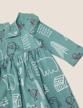 Bebek Mavi Saf Pamuklu Desenli Elbise