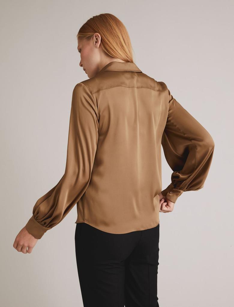 Kahverengi Saten Uzun Kollu Gömlek