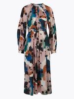 Turuncu Desenli Waisted Elbise