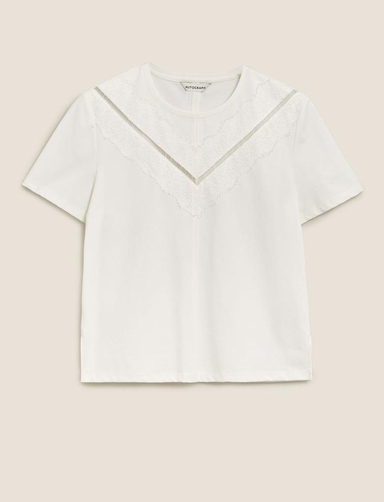 Beyaz Dantel Detaylı T-Shirt