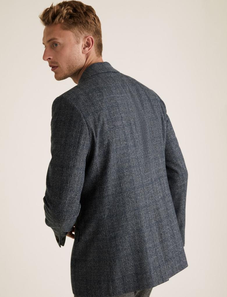 Erkek Mavi Regular Fit Ekose Blazer Ceket