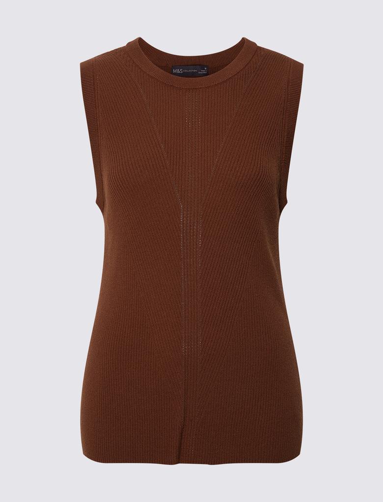 Kadın Kahverengi Kolsuz Triko Bluz