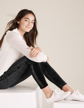 Kız Çocuk Siyah Pullu Şerit Detaylı Kadife Tayt