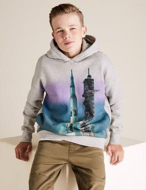Erkek Çocuk Gri Kapüşonlu Grafik Sweatshirt